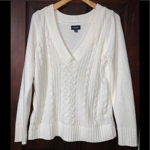 Worn 1x Ladies V-Neck Cable Knit White Sweater